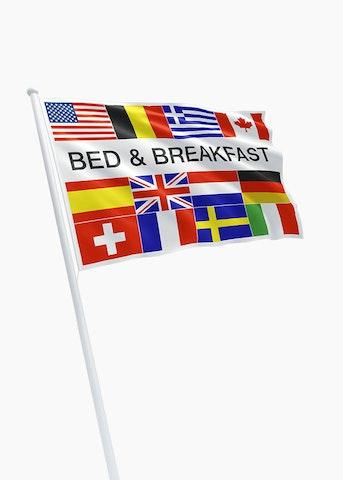 Bed & Breakfast + 12 landen vlag rechtformaat