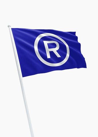Restaurant vlag blauw Ⓡ