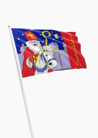 Sinterklaas te paard vlag rechtformaat